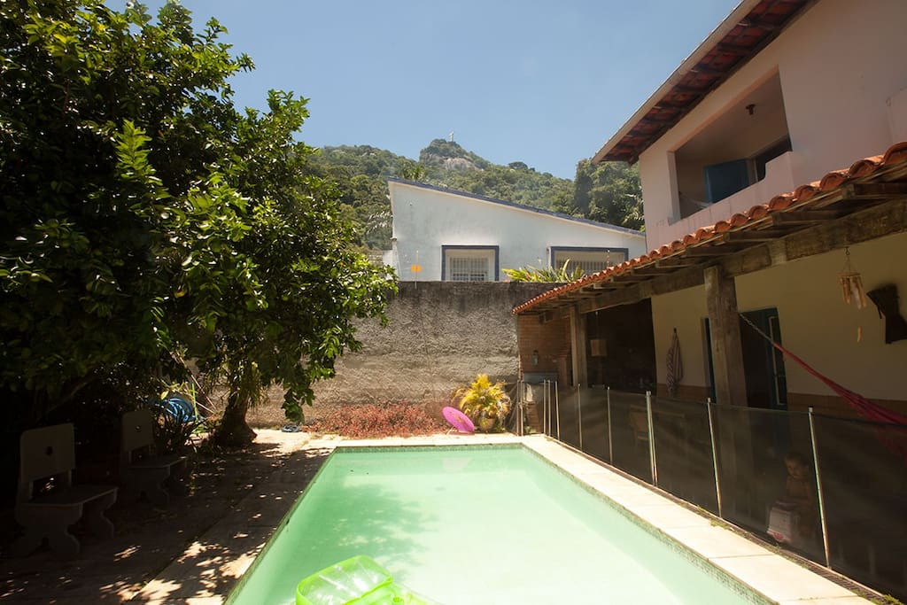 Pool with lemon tree and view of Christ the Redeemer