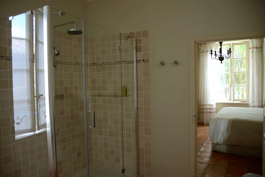 Large rainwater shower with luxury amenities