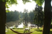 Several relaxing hammocks on the grounds