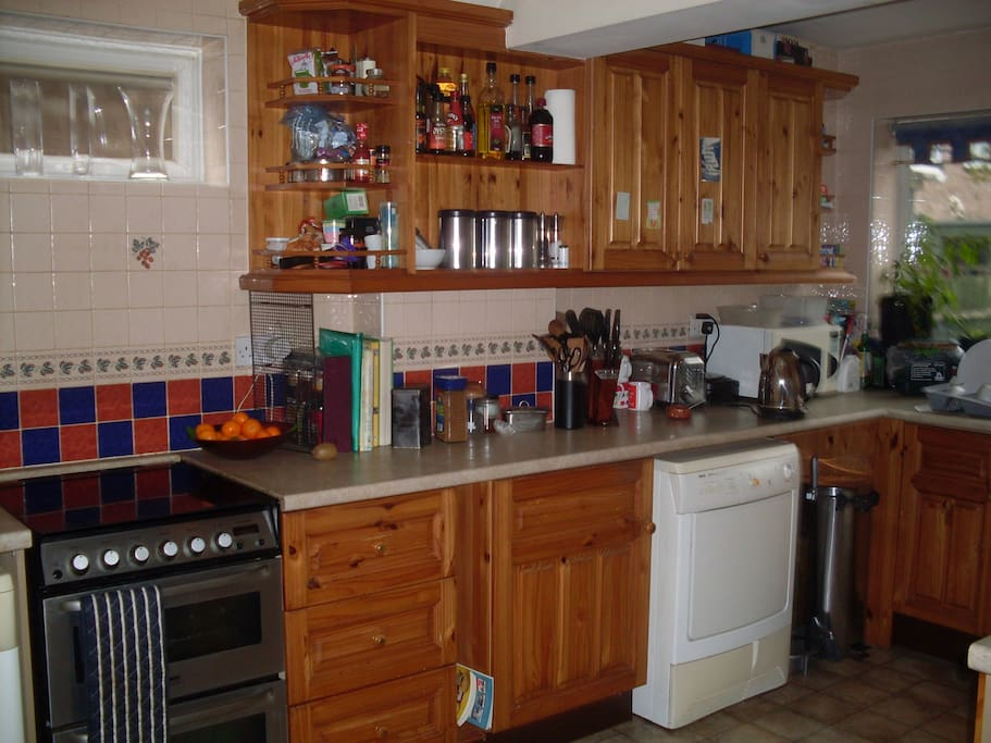 Well equipped large kitchen with fridge/ freezer, washing machine and dryer