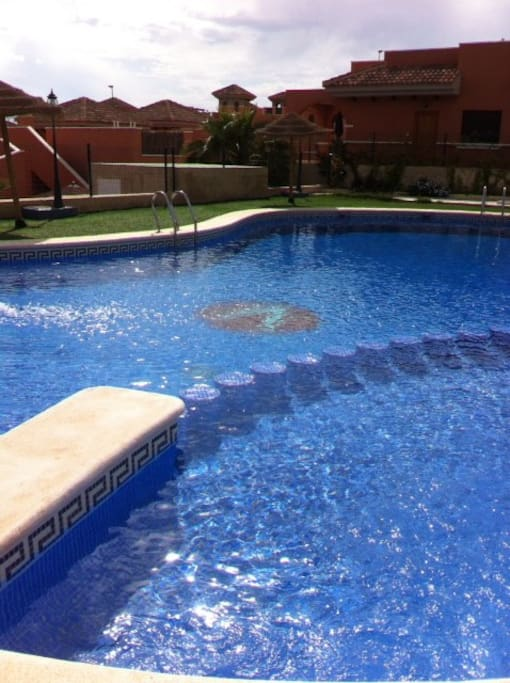 Have a cooling dip in the pool, with a jacuzzi and kiddies pool too