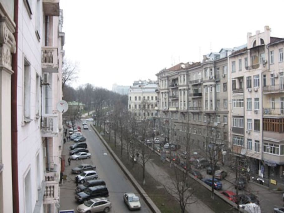The street you can see from the balcony.