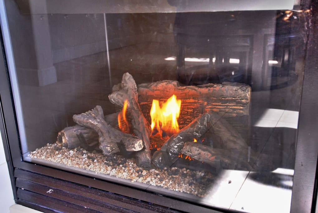 Working fireplace provides a cozy place to relax