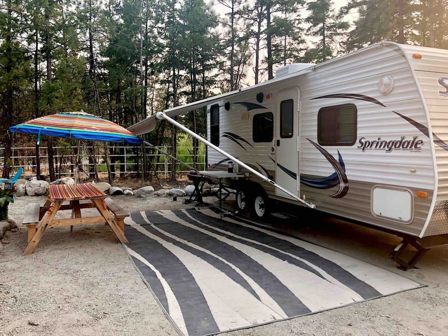 Our campsites are large enough to have a 40ft RV and come with a picnic table/umbrella