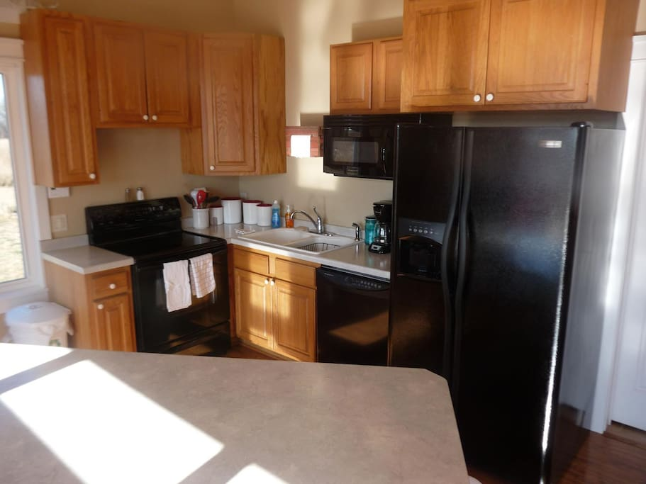 Fully equipped kitchen, fridge, microwave, dishwasher, stove, toaster, coffee maker, Keurig, crock pot and more.