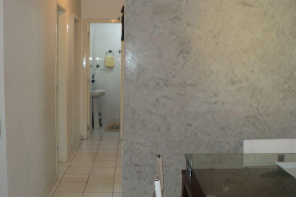 Hallway to the bedrooms, bathroom and kitchen