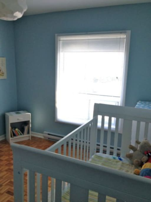Nursery: This is where my son sleeps! When both rooms are rented, I share this room with him.