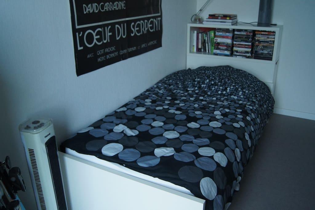 Je vous propose la chambre de mon fils parti étudier à l'étranger. Il est fan de cinéma!