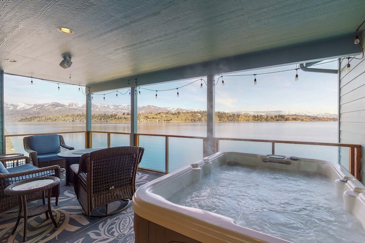 Lakefront home w/ hot tub, dock, kayaks, covered veranda & huge views!