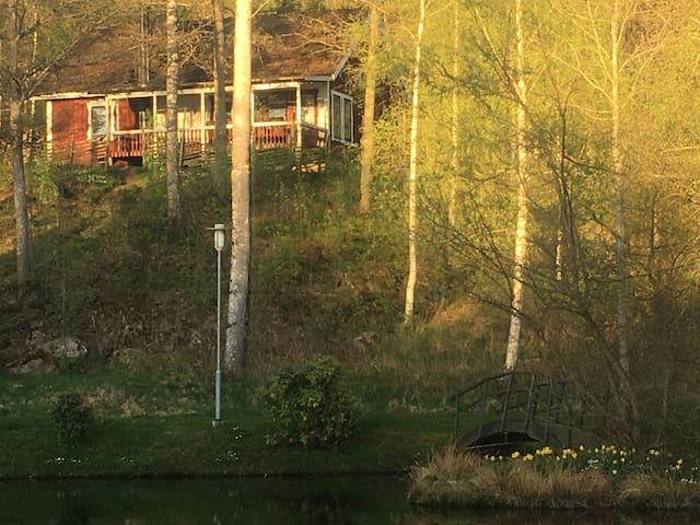 Stuga med båt /kanot  nära till skogen (1167)