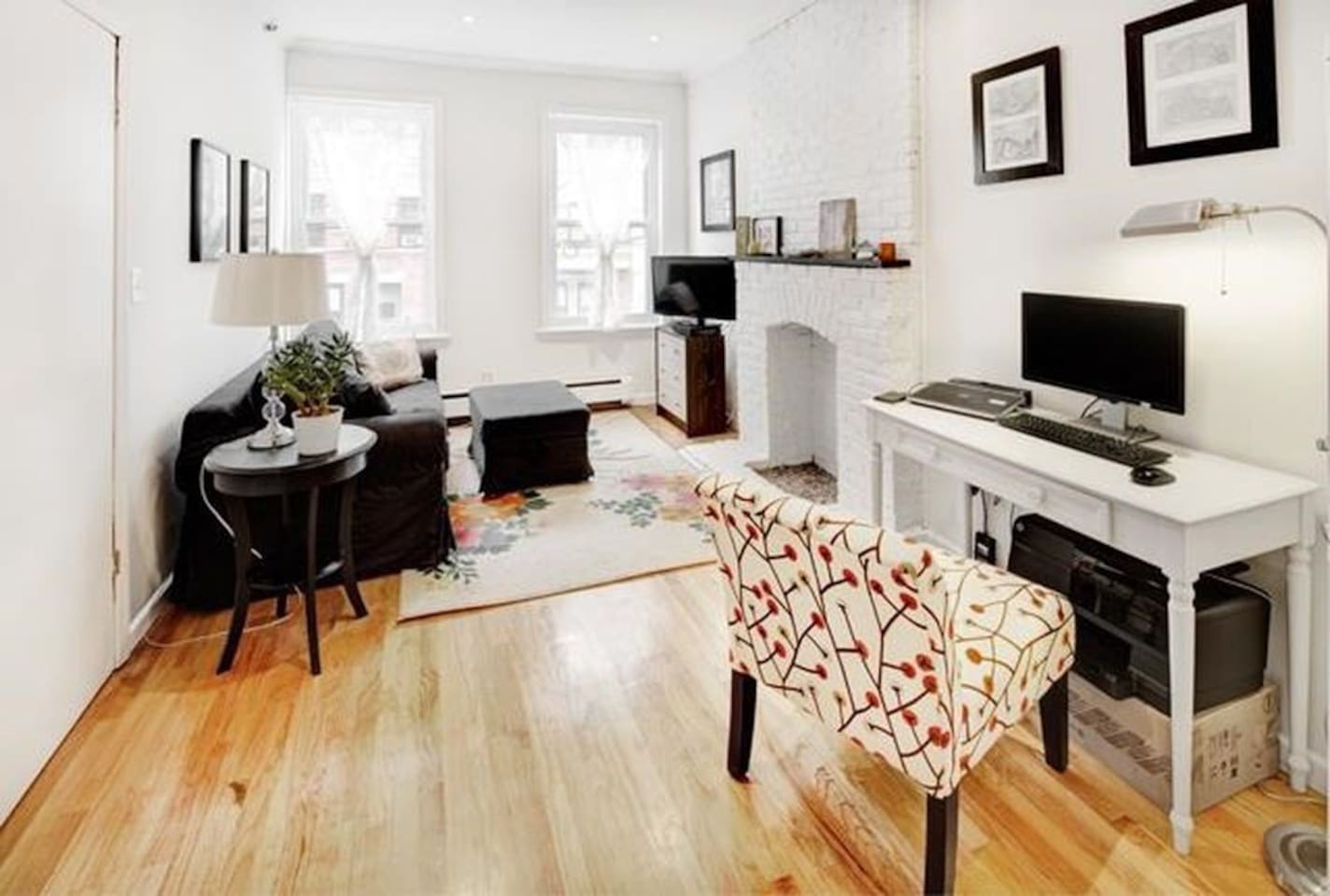 Bright living room with desk