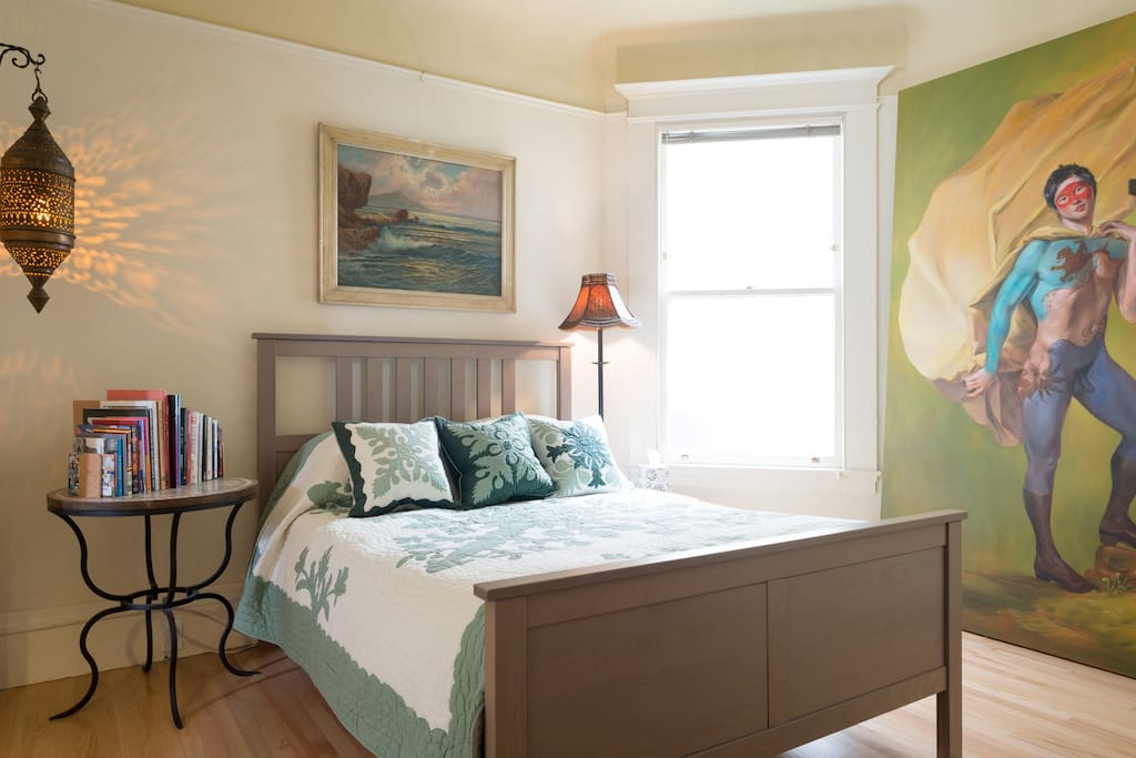 Four Photo Overview: 2) Your bedroom that is connected to you your private living room through pocket doors.