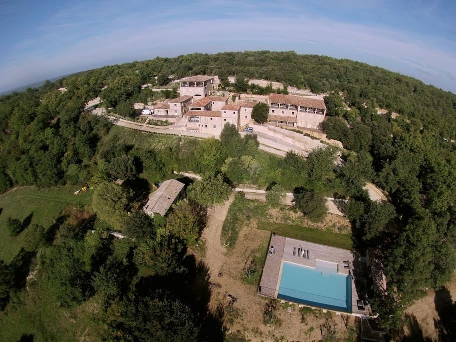 Aerial view of the hamlet and the swimming pool