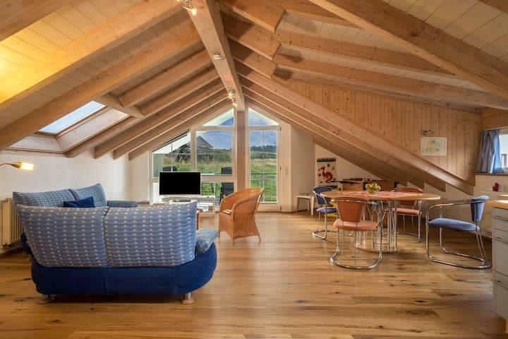 Schöne Dachgeschoss-Ferienwohnung Schleinseeblick mit Seeblick, Balkon und WLAN; Parkplätze vorhanden