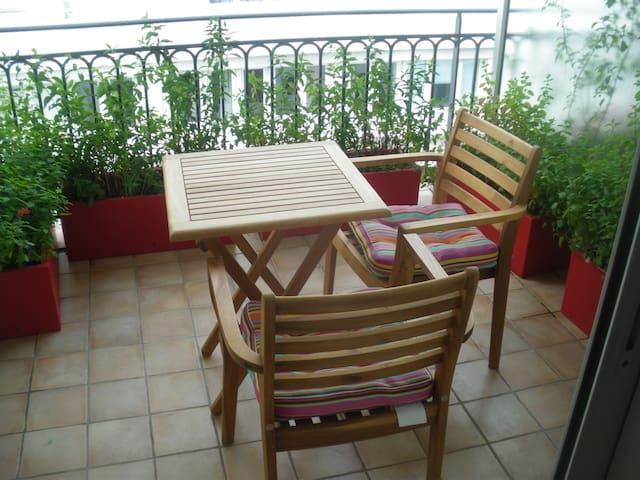 terrasse et balcon attenants à la salle de séjour