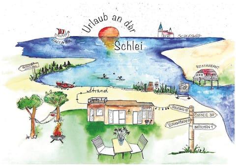 Ferienhaus an der Schlei * Strand, Garten, Sauna