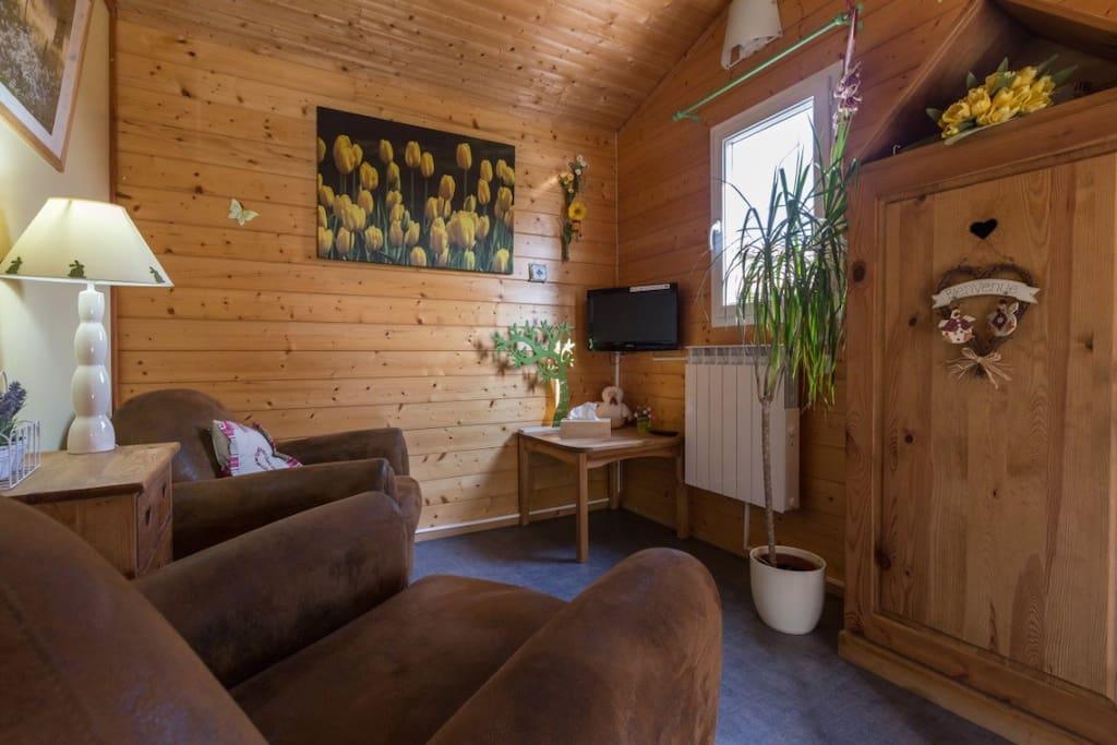chalet h telier avec terrasse et bonne literie chalets louer saint romain de jalionas. Black Bedroom Furniture Sets. Home Design Ideas