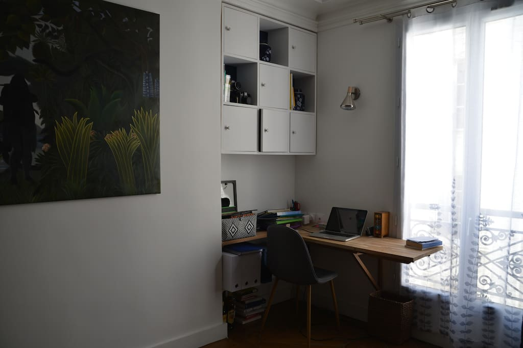 Workspace in the living room, with USB plugs