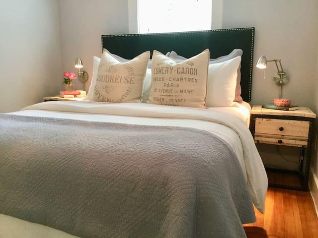 Very cozy master bedroom with a walk-in closet
