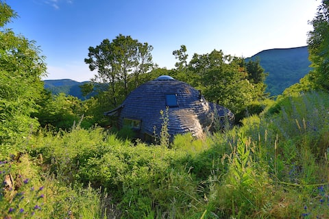 Eco-friendly wood dome house in nature