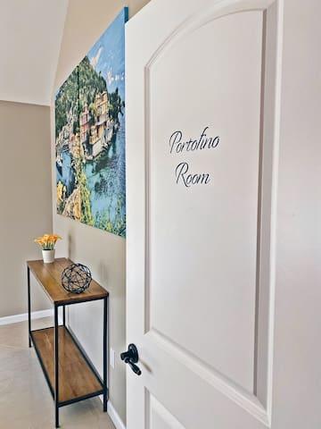Bedroom 2: Portofino Room (QUEEN BED) is located on the main floor of the Italian Wing