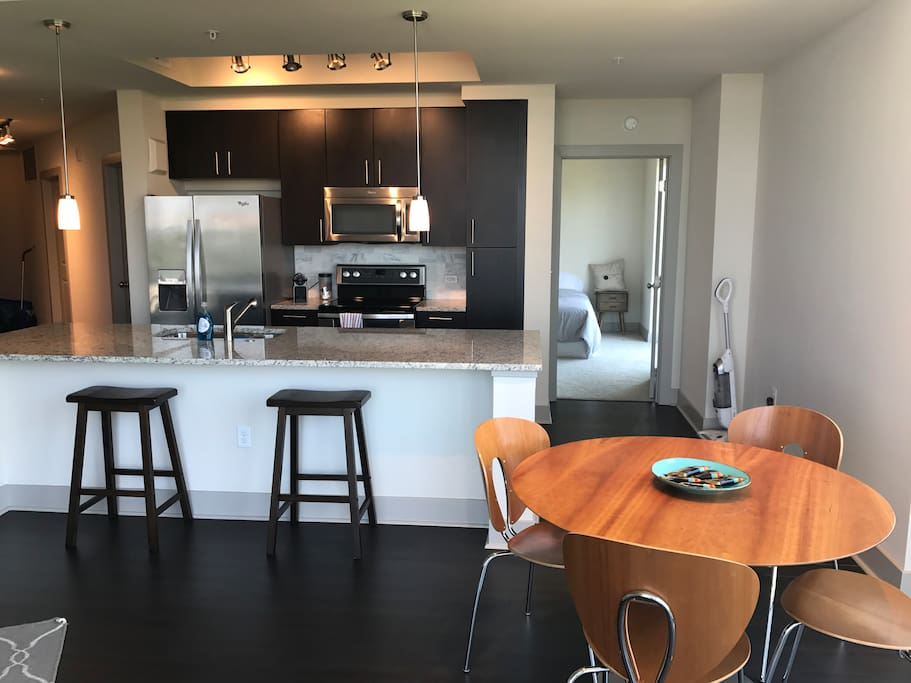Kitchen Island with Bedroom view