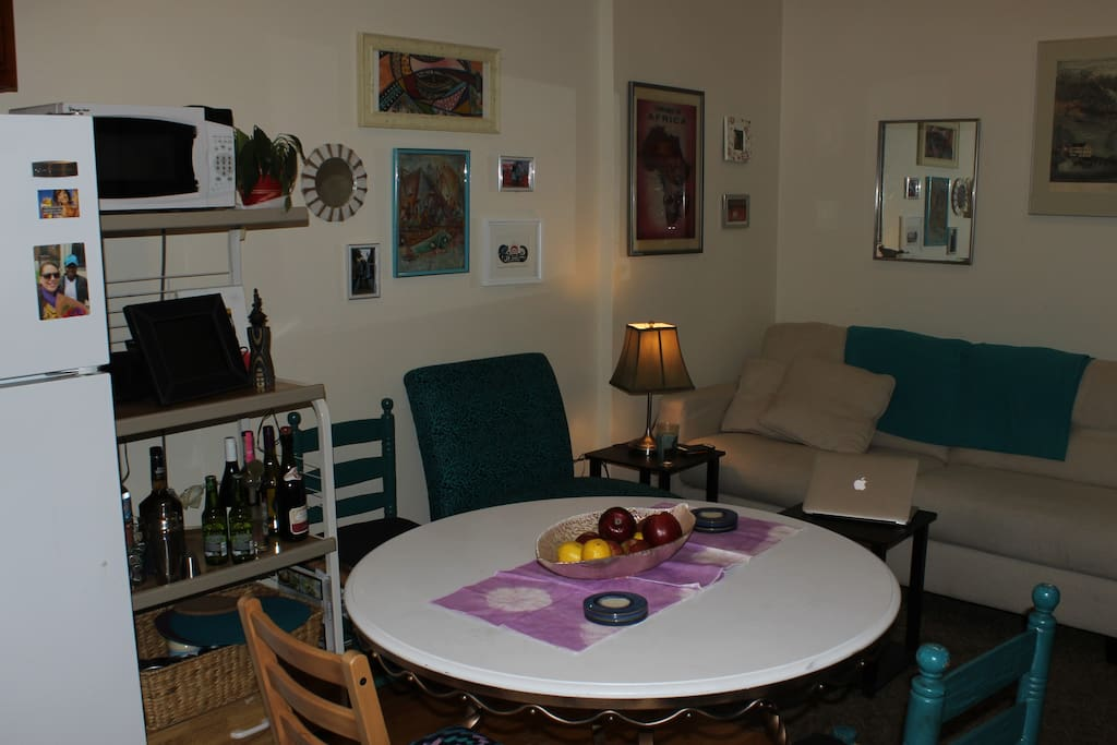 Our dining area opens to the living room