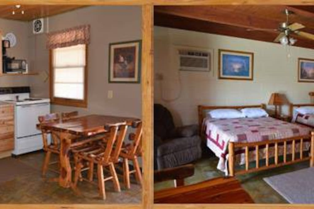 Inside one of our 1-bedroom cabins with two full beds.