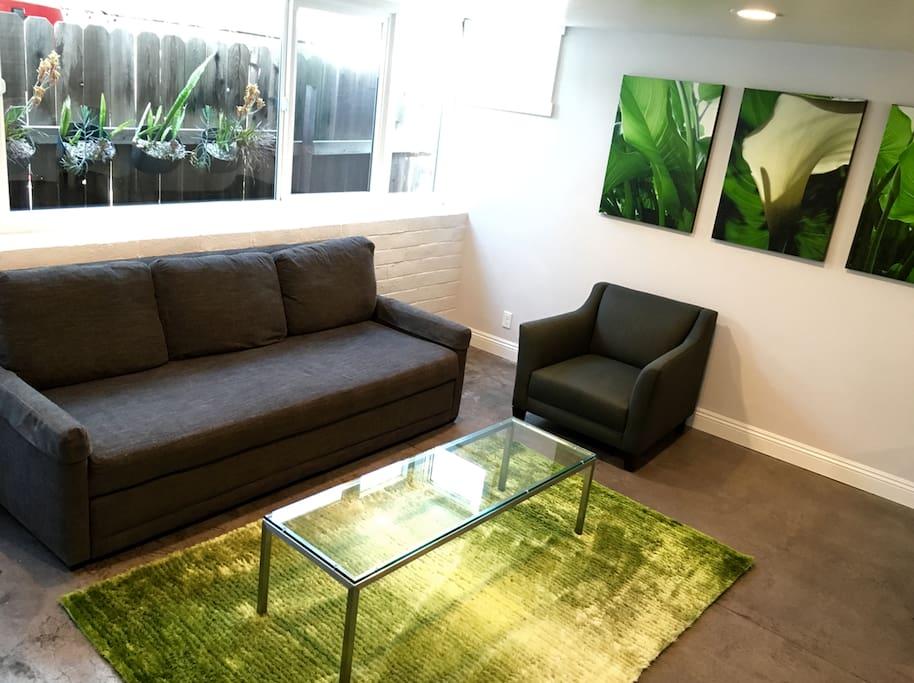 Crate & Barrel Reston Sofa Sleeper with Room & Board coffee table