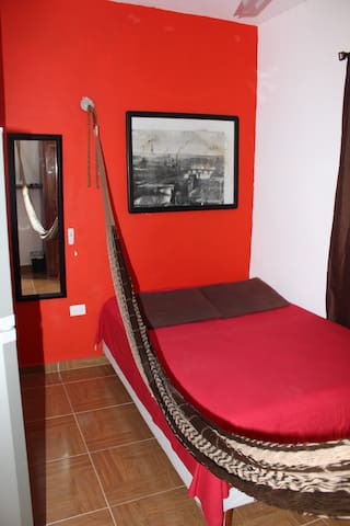 Your full size bed with a hamak.