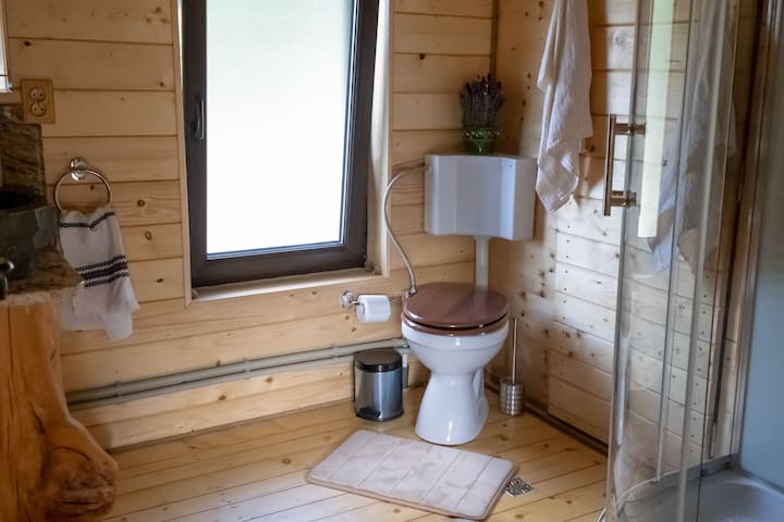 Bathroom - Shower with hydro-massage columns, radio and telephone.  Soap, shampoo, towels and hairdryer are included