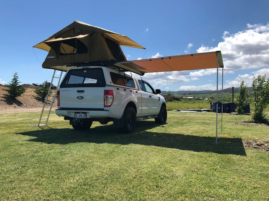 Complete tent set up with awning