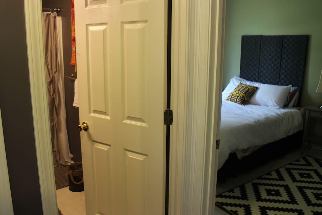 Bathroom is next door to the bedroom.