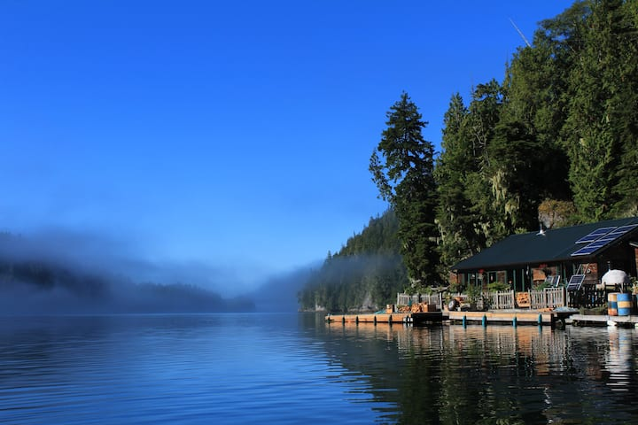 Floating Lodge in the Wilderness with boat moorage