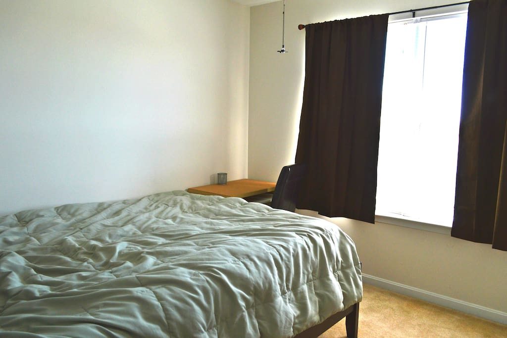 2nd Floor 3rd Guest Room with Queen Bed, Small Desk, Chair & Front View Window