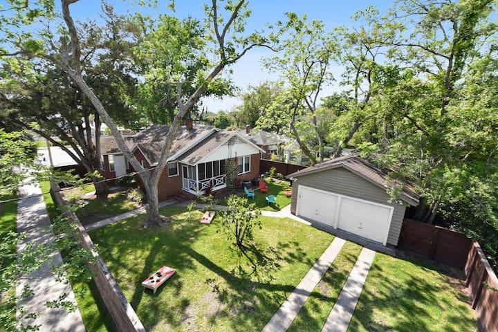Mid-Century Home:  Backyard + Alexa, Pro Sanitized