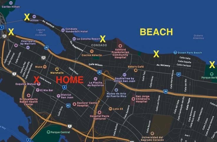 Walking distance map