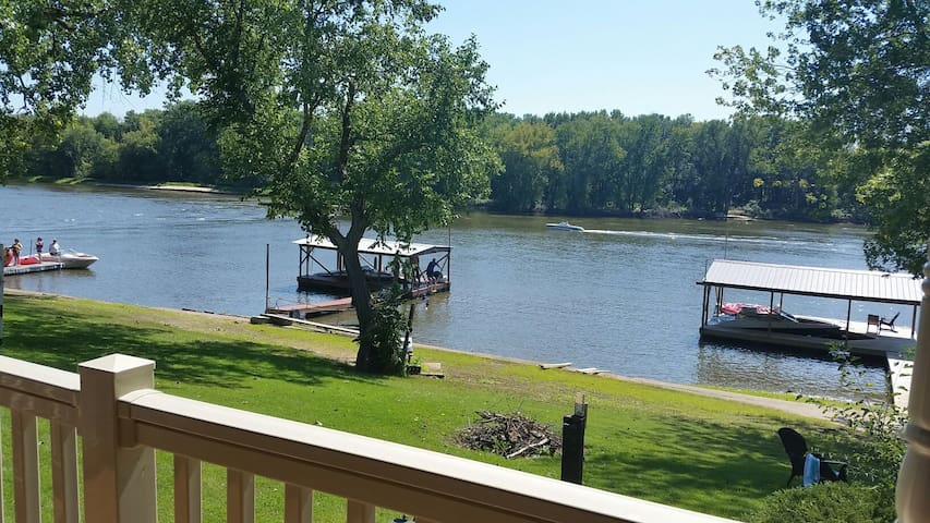View of river and dock  (ours is on the right).