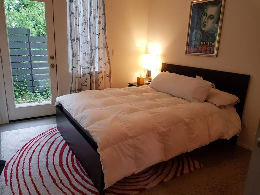 queen sized bed and private bath