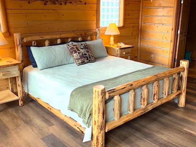 Master bedroom with Log king bed