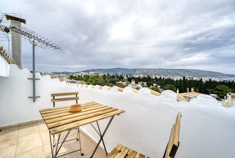 Sunny attic Acropolis great view from the roof