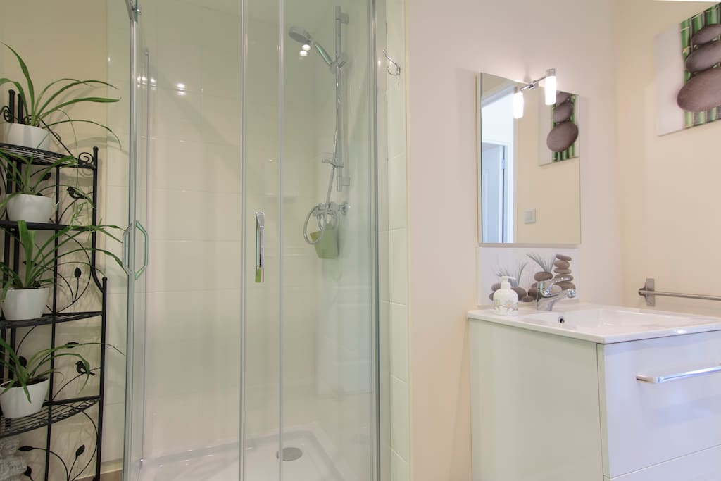 Light and airy perfectly sized shower room