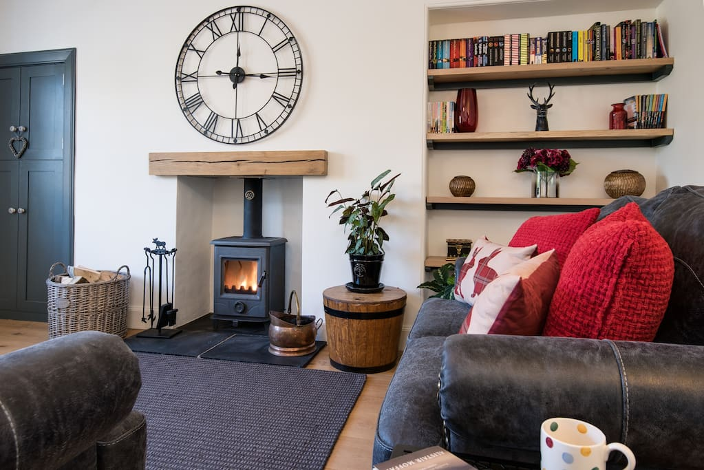 Relax and enjoy the warmth from the wood burning stove