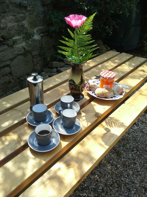Table in secluded garden