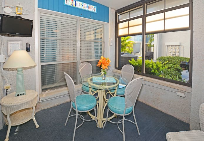 Try eating outside on the lanai table & chairs for that true vacation feel.  Great place to play cards or a board game too.