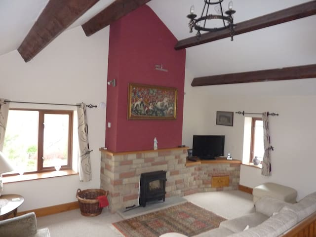 Vaulted ceiling in upstairs living room with cosy log burner