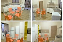 Shared kitchen with balcony fully equipped: 2 washing machines, 2 fridges, oven, kitchenware, dishes, cups and cuttlery