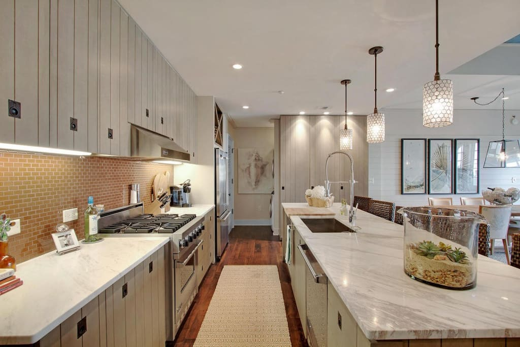 Rosemary Beach-The gourmet kitchen complete with marble countertops.