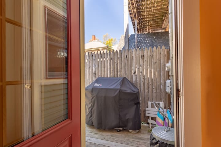 Back Entrance with small deck and grill