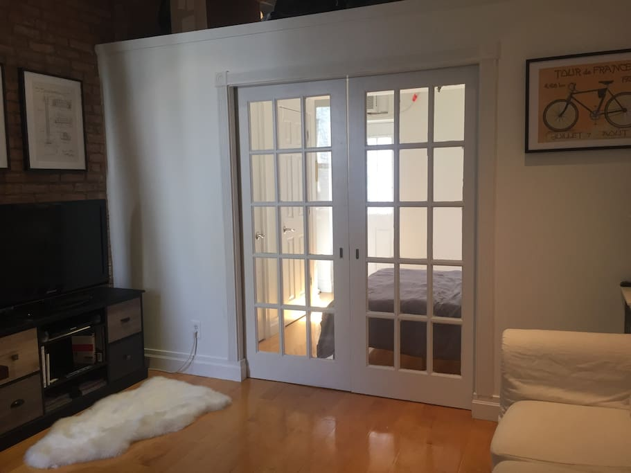 French doors open and close for convenience & privacy
